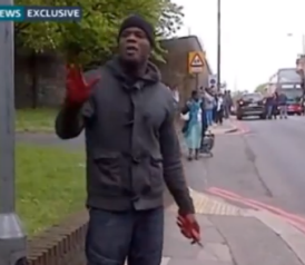 London Terror Suspect, Bloody and Holding a Cleaver, Talks to the Camera