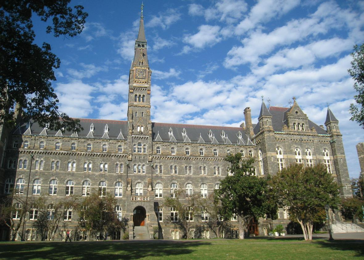 georgetown students protest a residence hall named for a