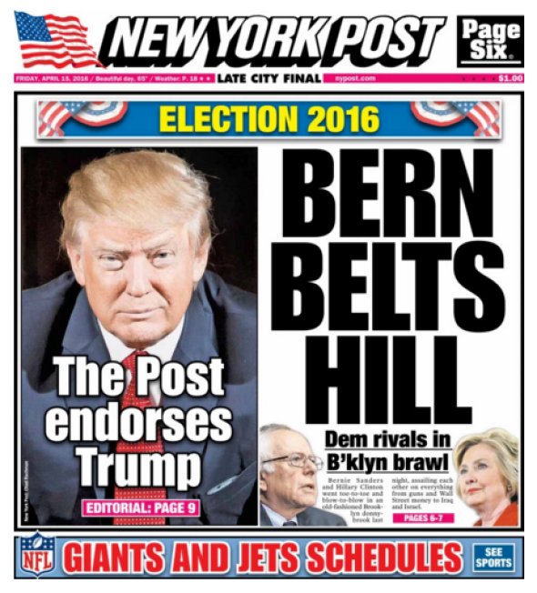 New York Post endorses Trump, disagrees with him on pretty ...