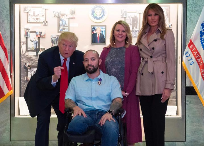"Trump Says ""Congratulations … Tremendous"" as He Awards Purple Heart to Wounded Soldier"