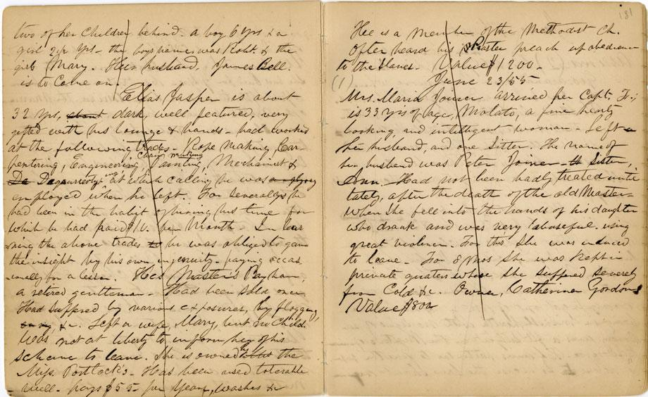 william still  his diary recorded details of slaves