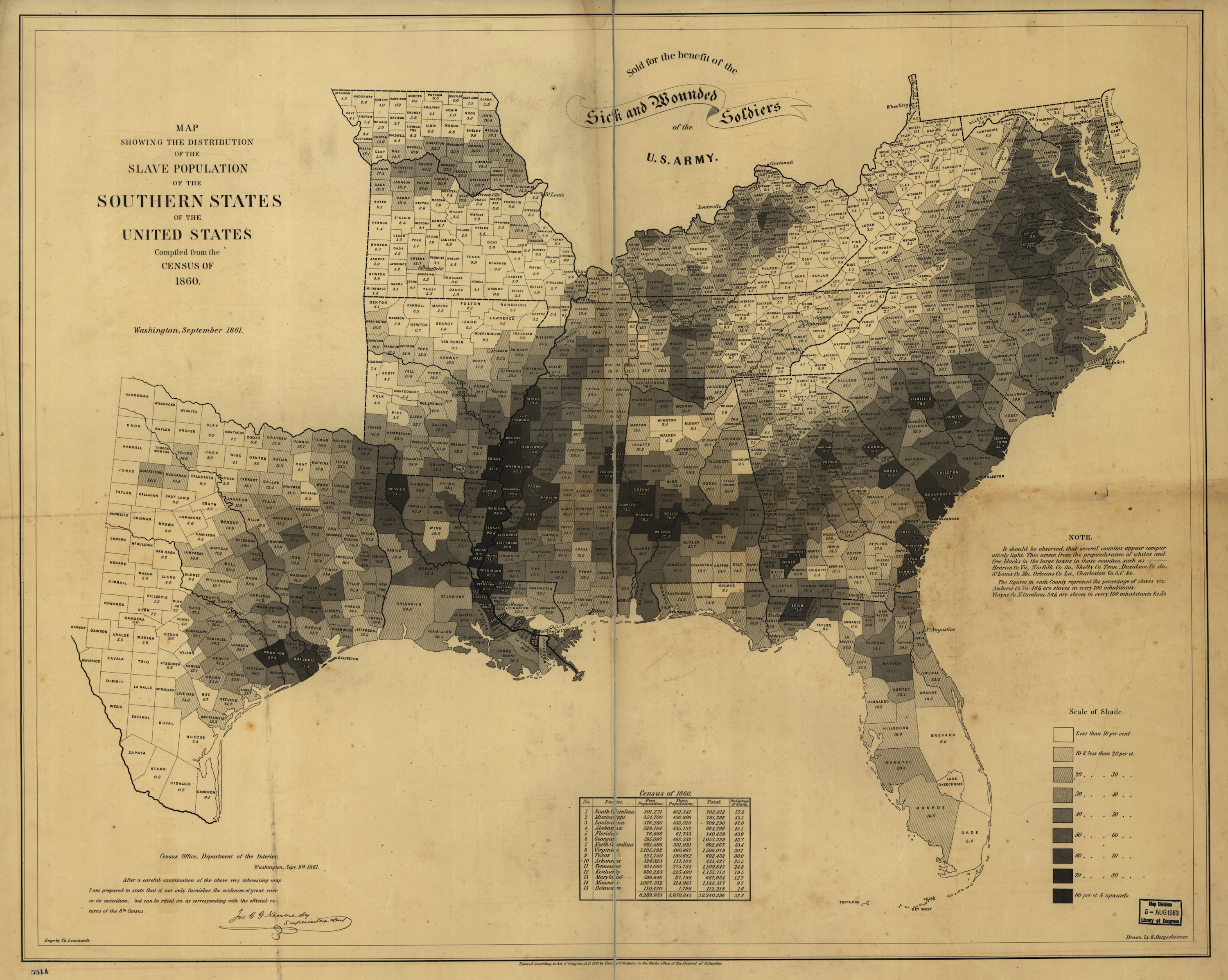 1861 map of US slavery