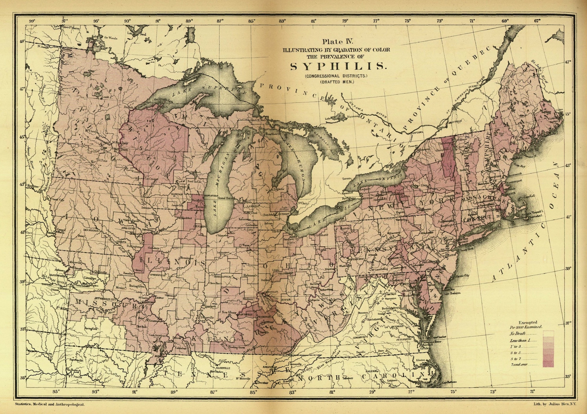Syphilis A Map Of The Disease During The Civil War - Map of states during us civil war