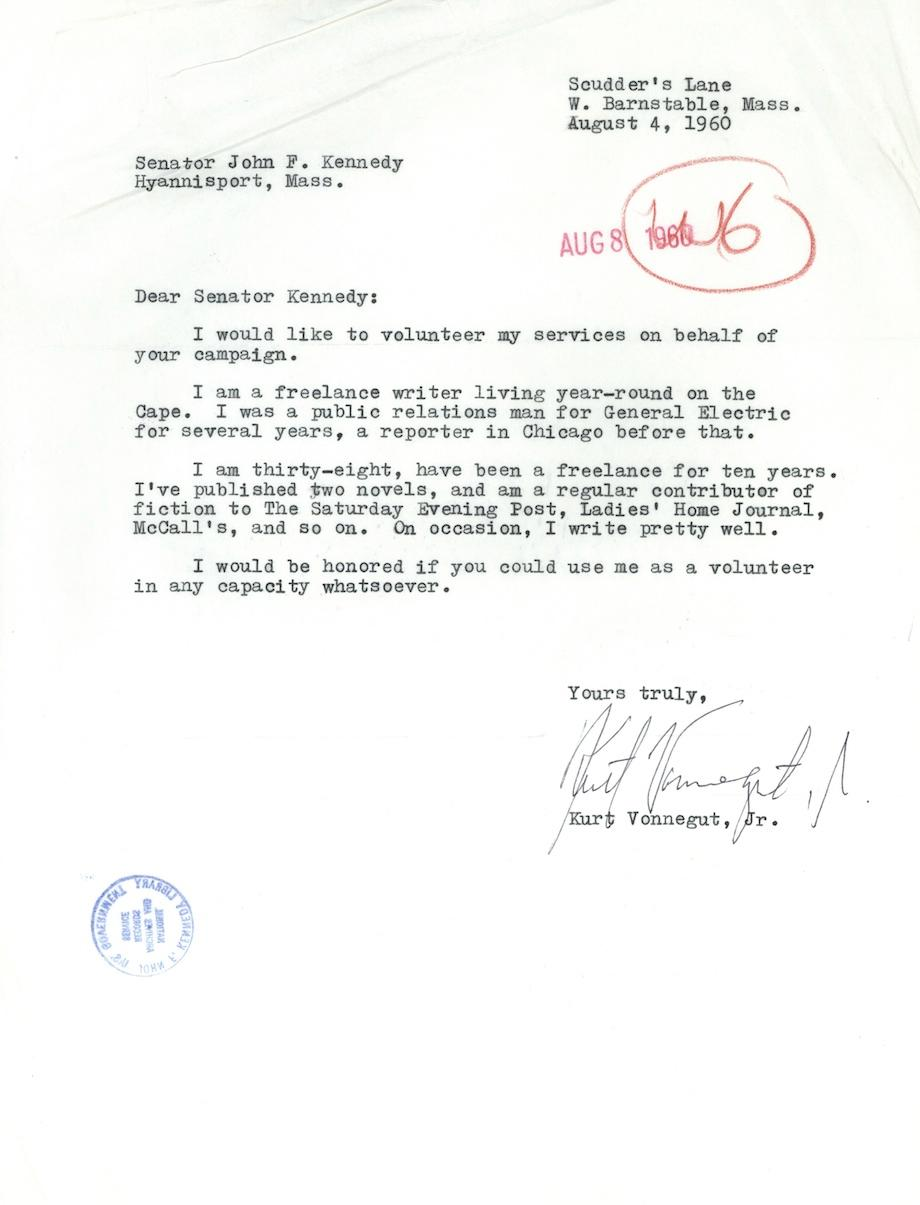 kurt vonnegut the author volunteers for the jfk campaign vonnegut letter 1960 letter from kurt vonnegut to john f kennedy