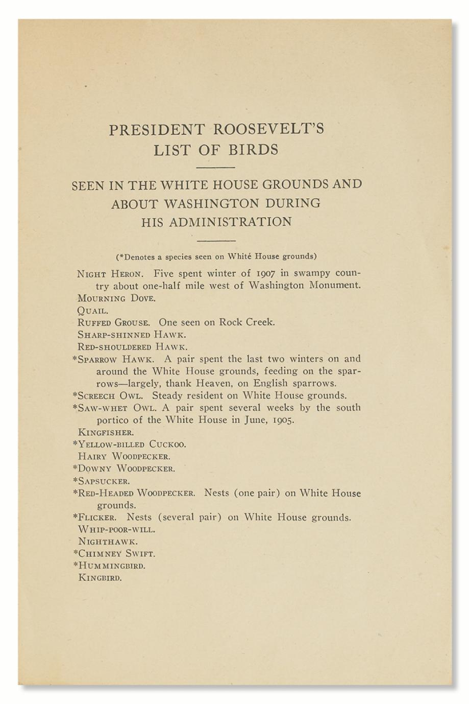 Theodore Roosevelt's White House Bird List