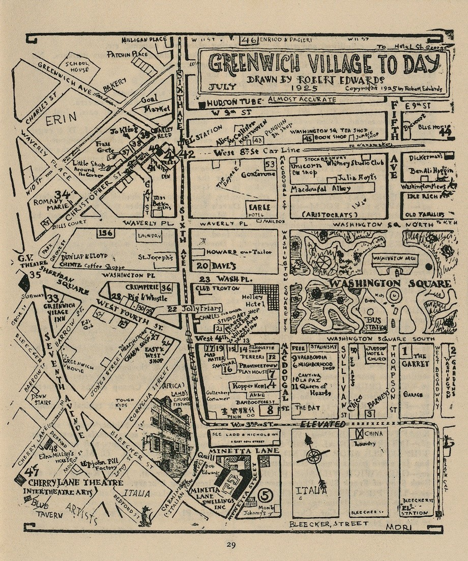 Greenwich Village A Hand Drawn Map Of Its Notable