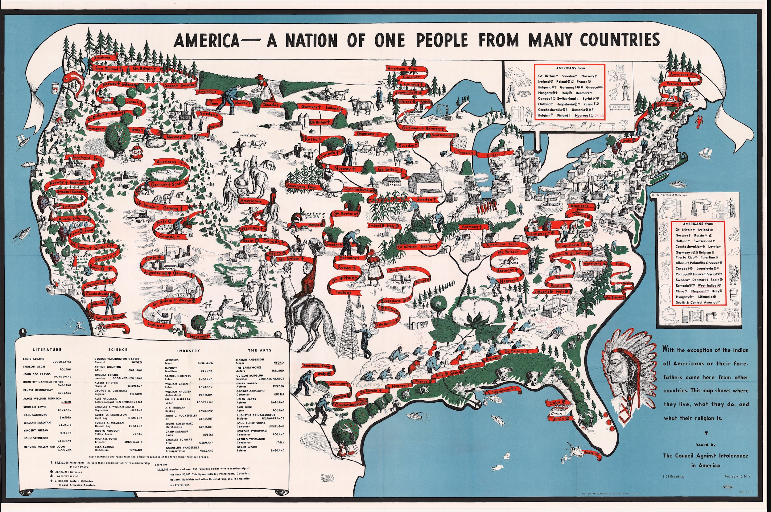 Diversity map 1940 map of American ethnic groups owned by Langston