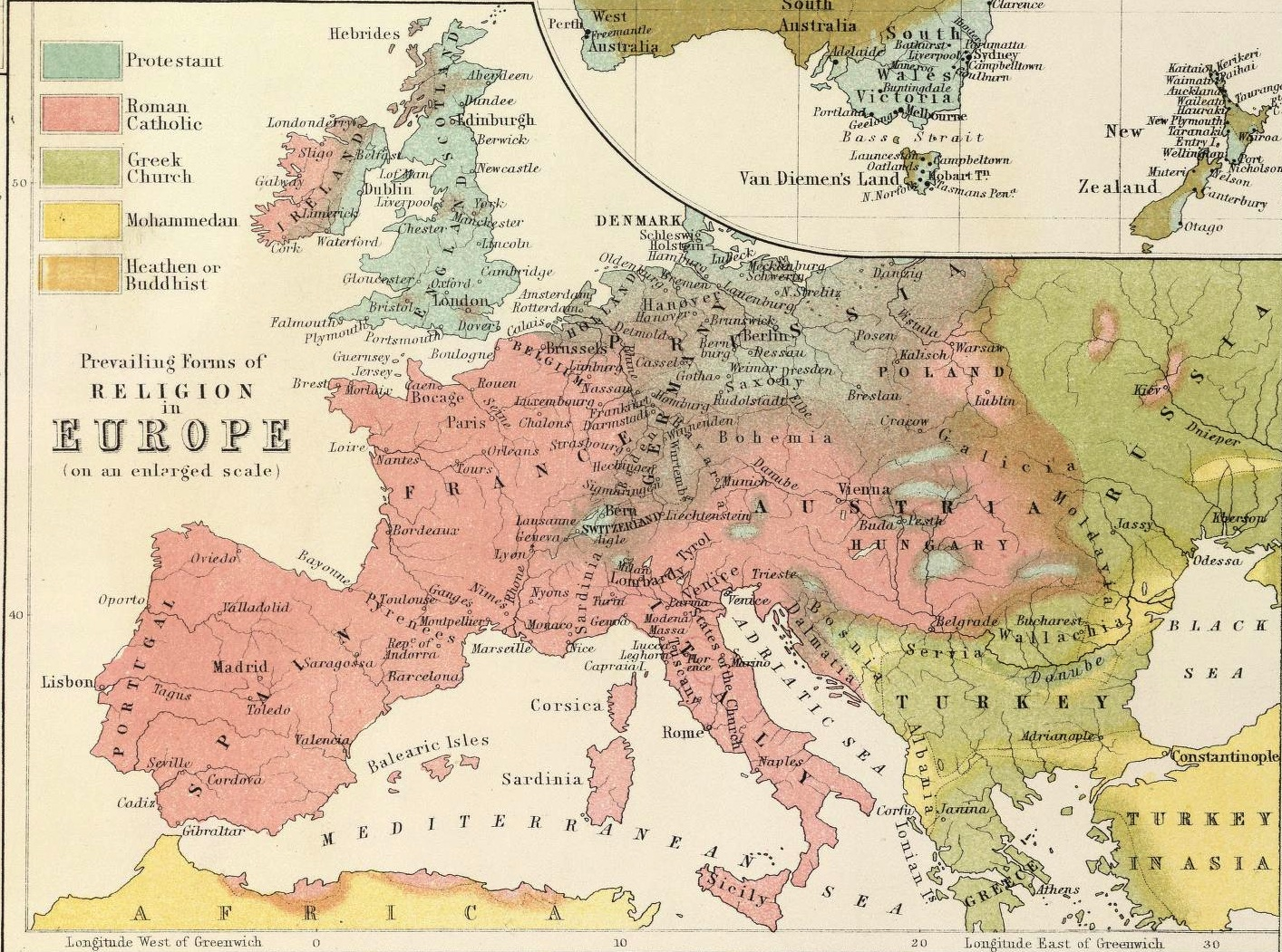 Religion map mid 19th century scottish map of world religion religionineuropedetail gumiabroncs Image collections