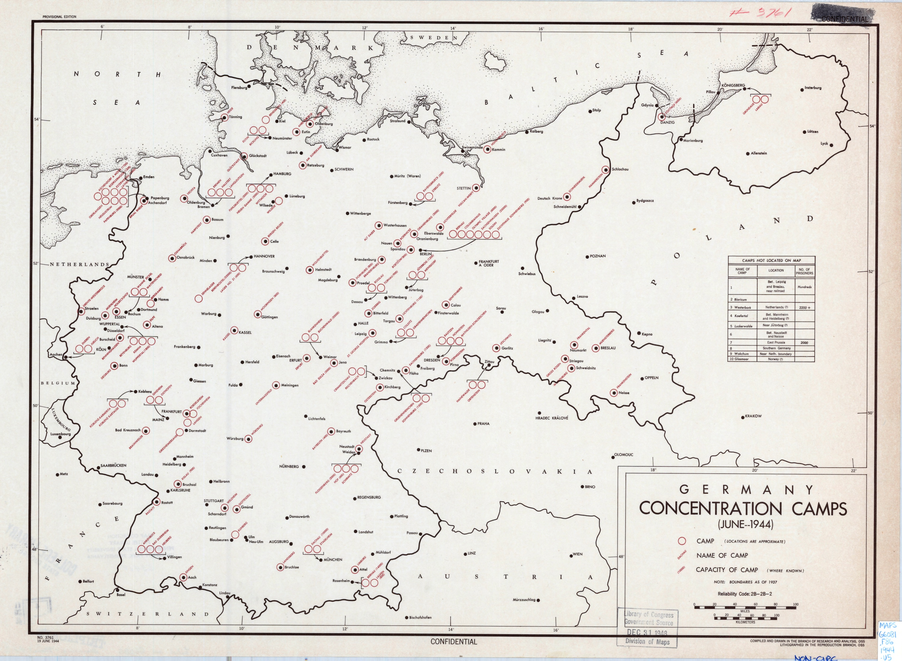 Concentration Camp US Intelligence History Office Of Strategic - Germany map of concentration camps