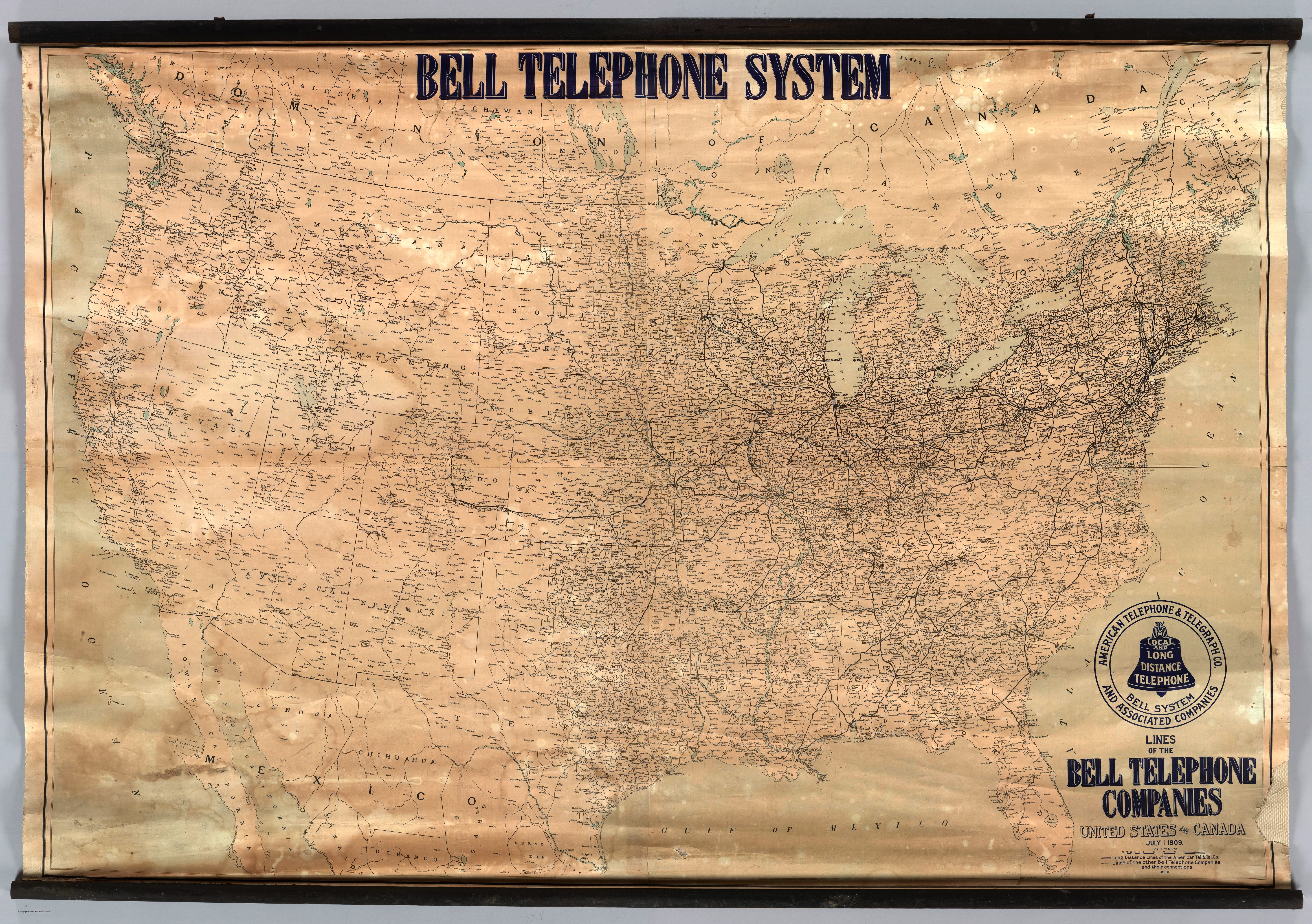 History Of The American Telephone System Map Of Bell Coverage In - Map of usa and canada east coast