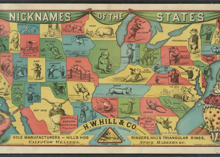 A nickname map of the American states, from 1884.