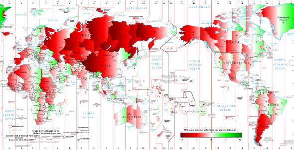 How wrong is your time zone map shows how far world clocks are from solartimevsstandardtime behind the times gumiabroncs