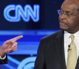 US businessman Herman Cain (R)