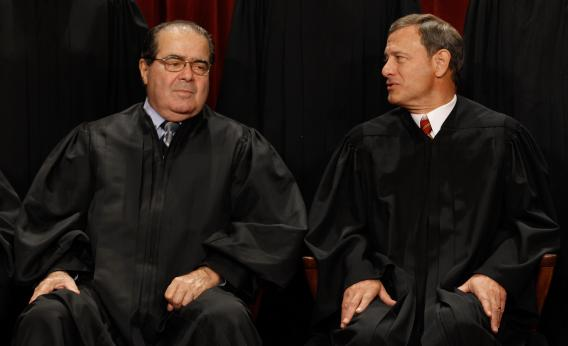 U.S. Supreme Court Associate Justice Antonin Scalia  and Chief Justice John Roberts
