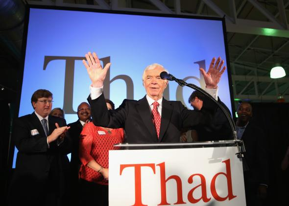 Sen. Thad Cochran celebrates his narrow victory over Chris McDaniels with supporters at the Mississippi Children's Museum on June 24, 2014. in Jackson.