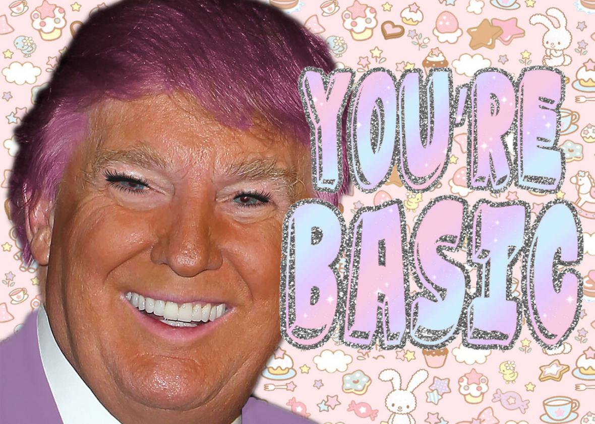 Donald Trump in kawaii makeup and glitter is downright