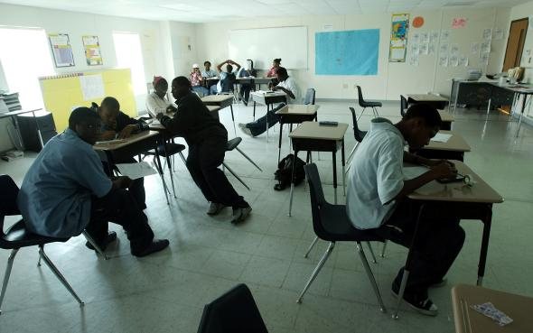 Students attend class at Encore Academy charter school on May 13, 2015, in New Orleans.