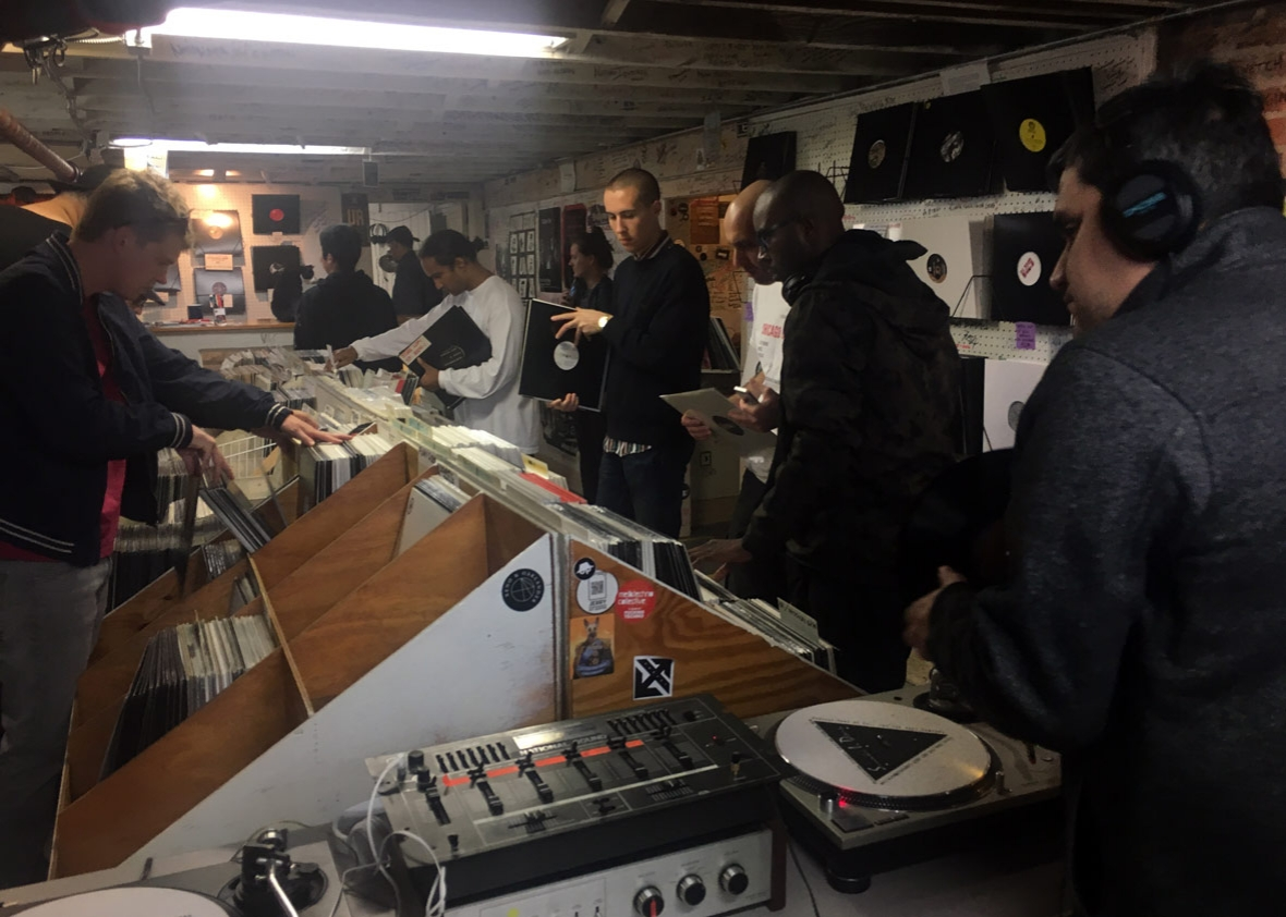 "Techno fans visit the ""Somewhere in Detroit"" record store, located in the basement of Submerge, a Motor City techno label and DJ collective."