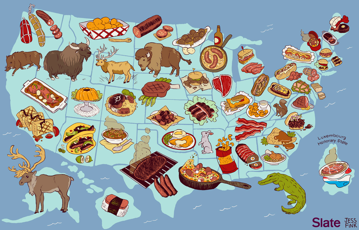 United Steaks of America map If each state could have only one meat