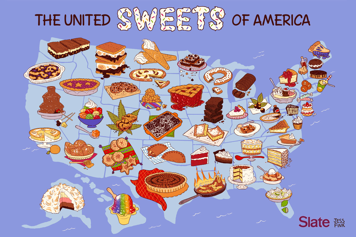 United Sweets Of America Map A Dessert For Every State In The - Map of usa with deserts
