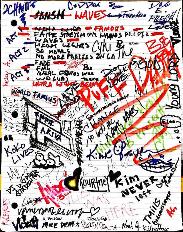 kanye west s waves notepad and track list annotated Kanye West Portrait click the markers below to see annotations toggle markers