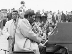 Thelonious Monk with bassist Larry Gales in 1967. Click Image to expand.