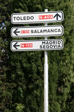 Road signs in Spain. Click image to expand.