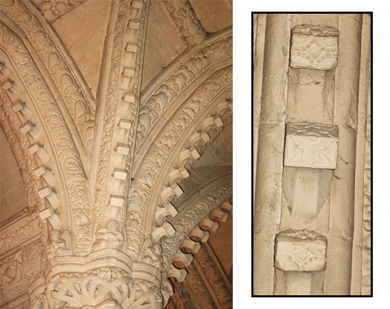 Left: Arches with protruding stone cubes. Right: A close-up of three cubes.