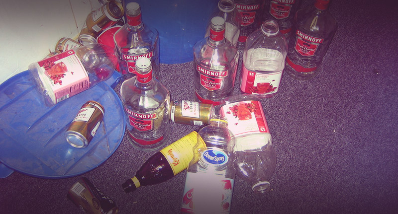 Liquor bottles, empty