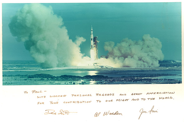 Autographed photo of the Apollo 15 launch signed by the crew, given as a gift for Van Hoeydonck, 1971.