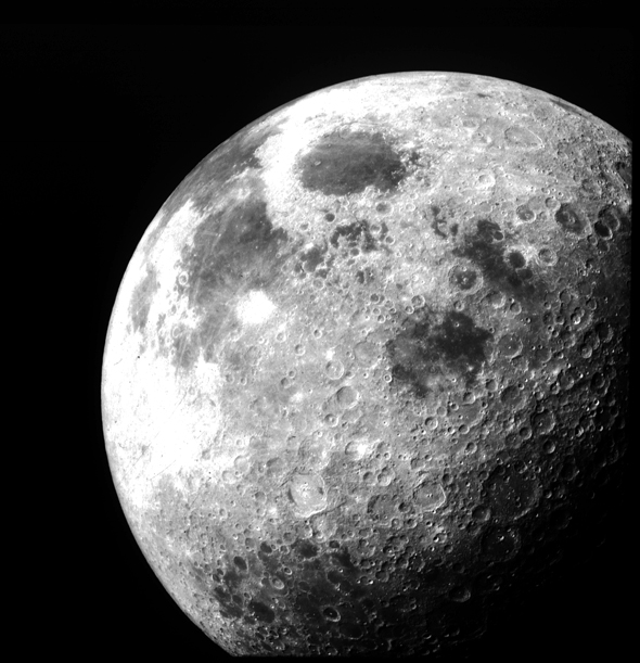 The Moon after Apollo 12 left lunar orbit. The photo was taken from the command module, November 1969.