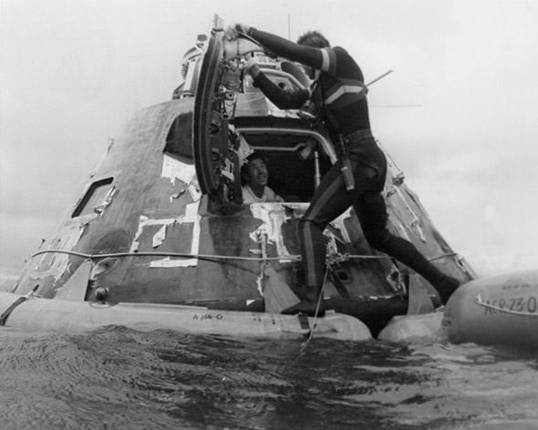 Apollo 15 astronaut James Irwin after splashdown in the North Pacific Ocean, Aug. 7, 1971.
