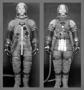 The suit on the left was worn by all crewmembers prior to Apollo 15 and by the Apollo 15-17 Command Module Pilots.