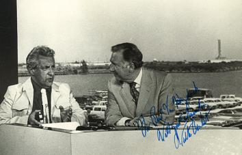Van Hoeydonck with CBS correspondent Walter Cronkite, who announced that a Van Hoeydonck is the first art on the moon in Cape Kennedy moments after the Apollo 16 blast off.