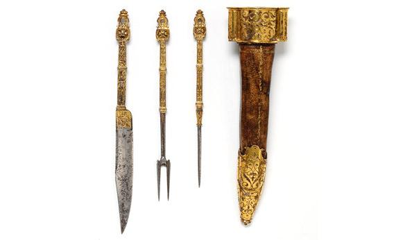 Steel and iron-gilt French forks from 1550-1600.