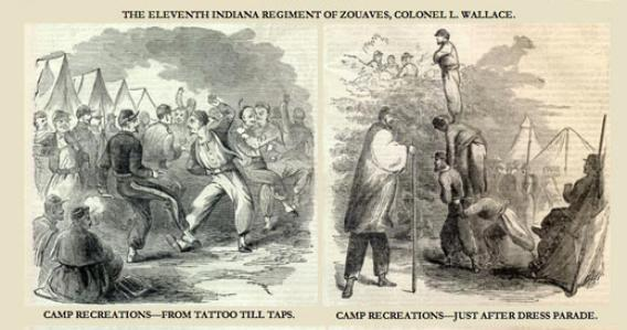 Harper's Weekly drawings of Lew Wallace's 11th Indiana Zouaves, made in 1861 after their successful raid on Romney, West Virginia.