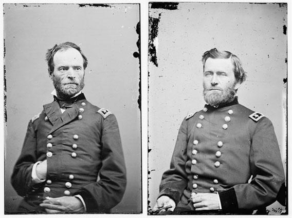 William T. Sherman (L) and General Ulysses S. Grant (R).