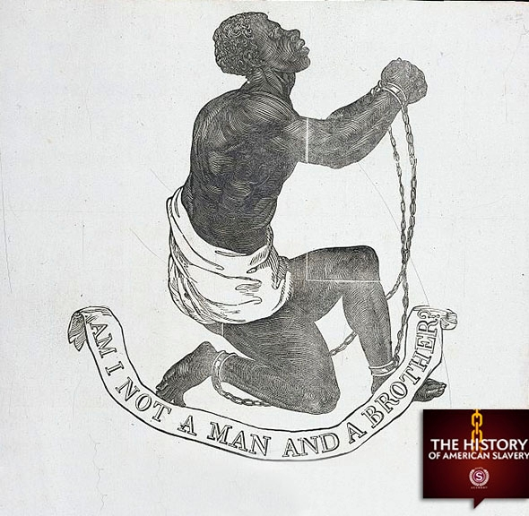 "The large, bold woodcut image of a supplicant male slave in chai,The large, bold woodcut image of a supplicant male slave in chains appears on the 1837 broadside publication of John Greenleaf Whittier's antislavery poem, ""Our Countrymen in Chains."""