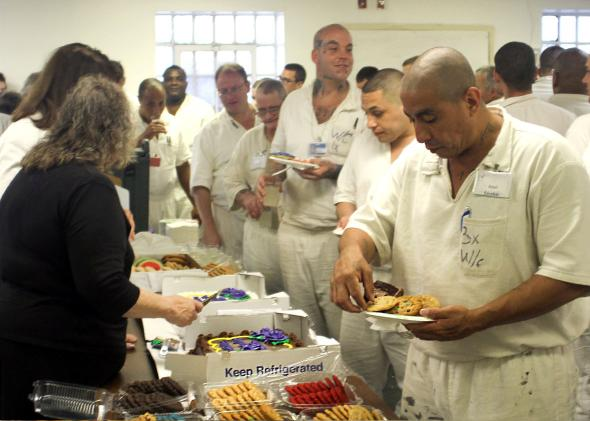 Prisoners at Jester I, served by volunteers, during graduation r