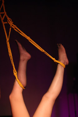 A woman, who is a willing submissive participant, is bound and suspended with ropes at a dungeon party during the DomConLA convention on May 18, 2012 in Los Angeles, California.