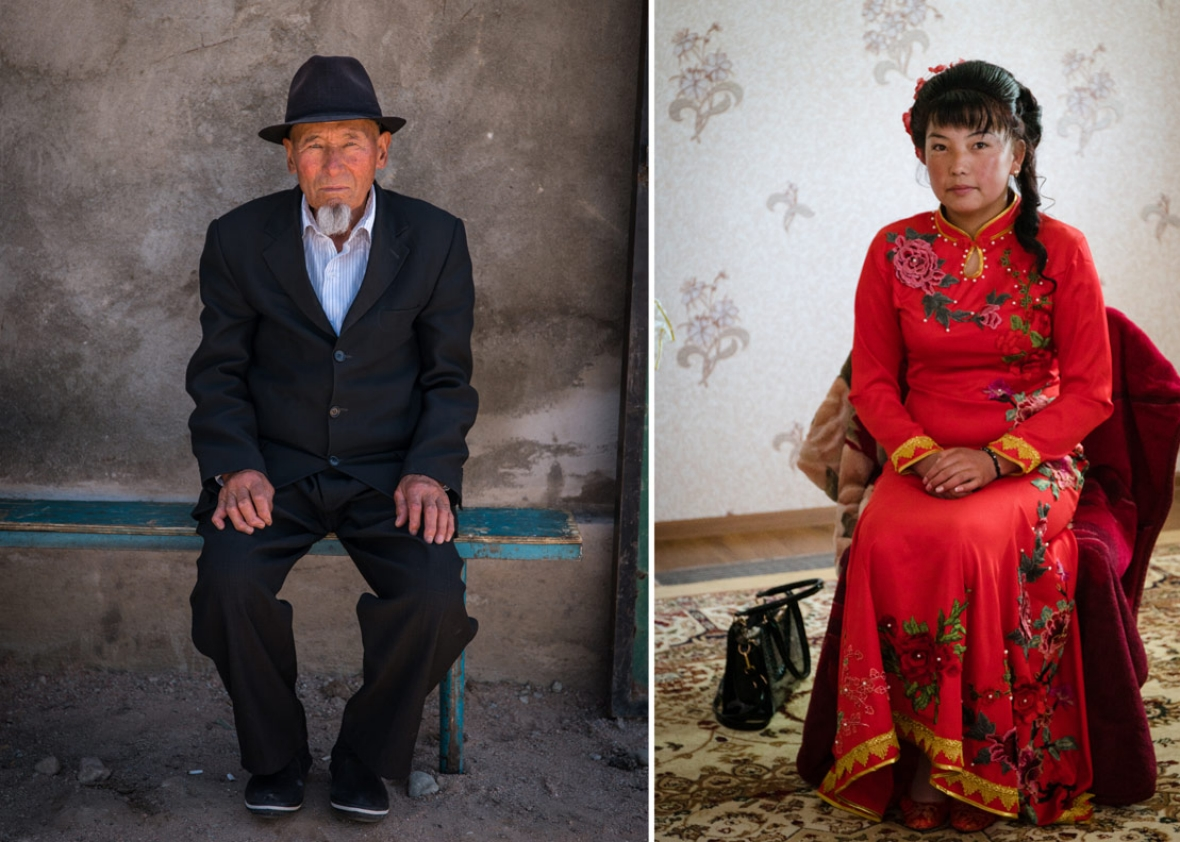 (L) Dungan gentleman outside the wedding party (R) The Dungan bride waiting for the dowry to be exchanged before meeting her husband