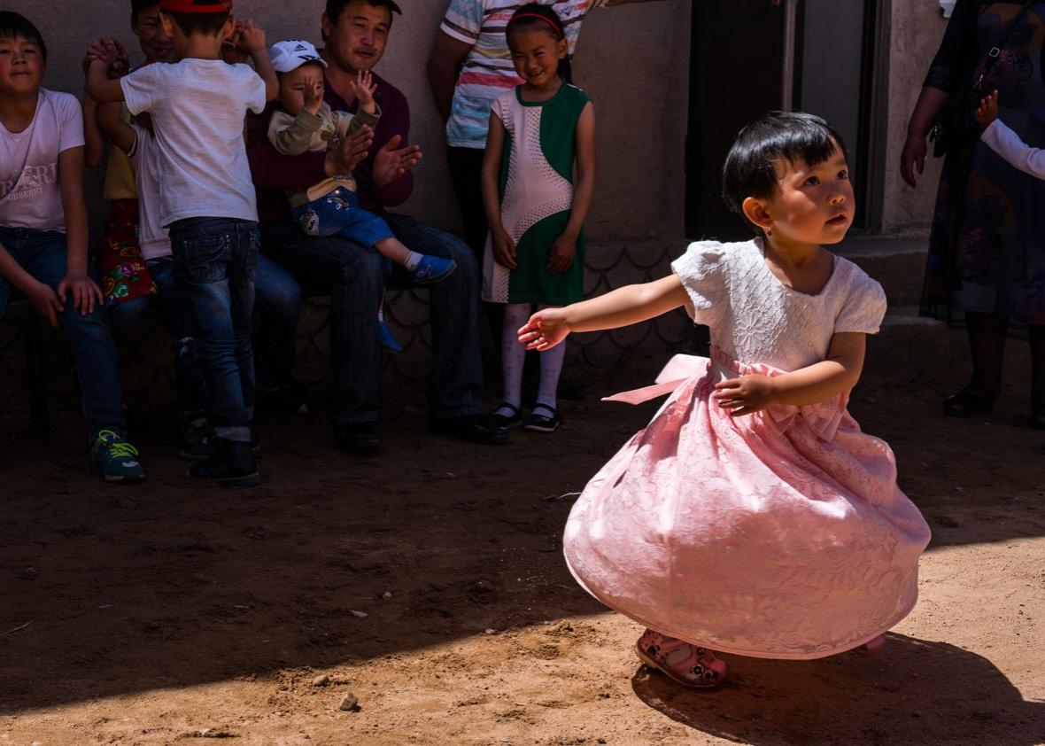 A girl dancing at the Dungan wedding