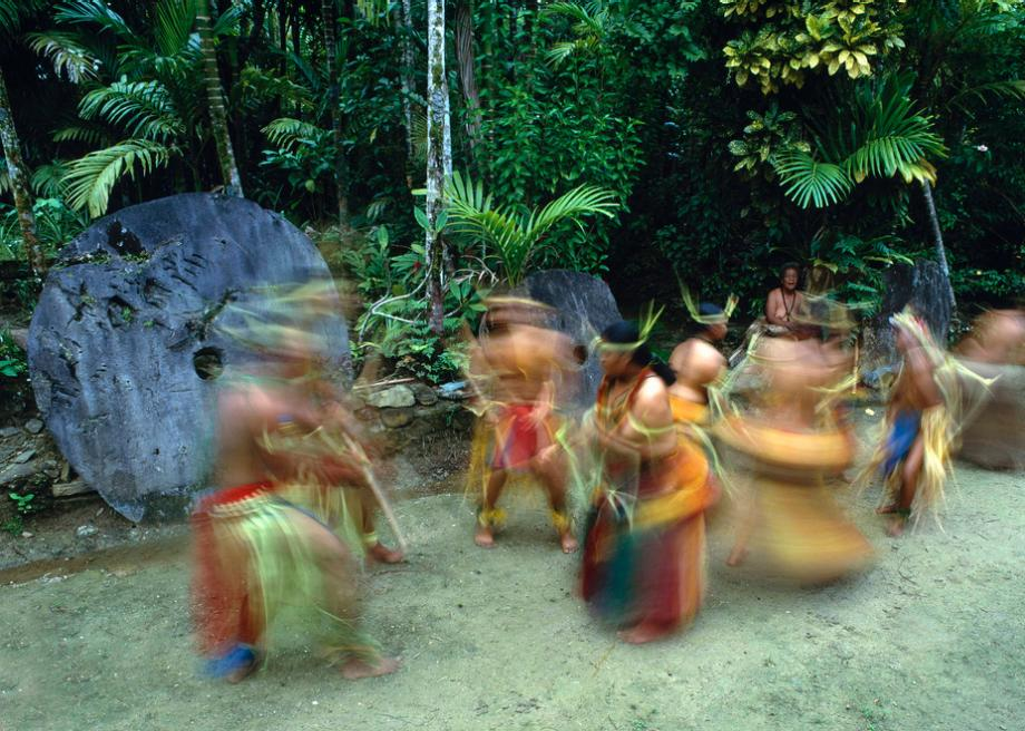 Dancers and stone money, Yap Island, Federated States of Micronesia