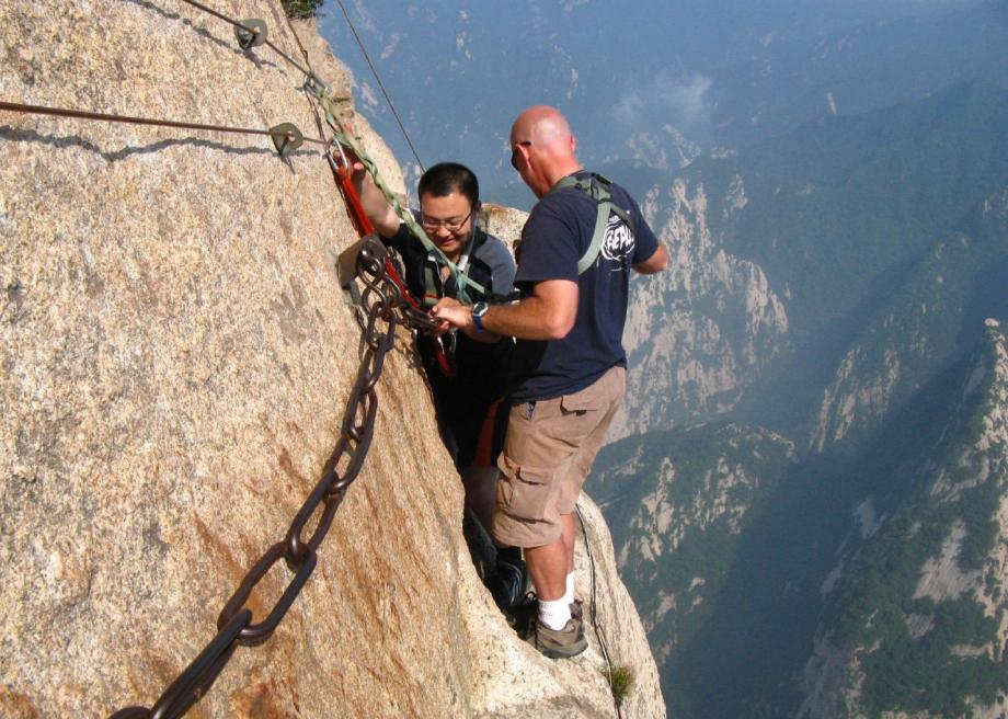 Climb Mount Hua, or Huashan, in China for the world's scariest cup of tea