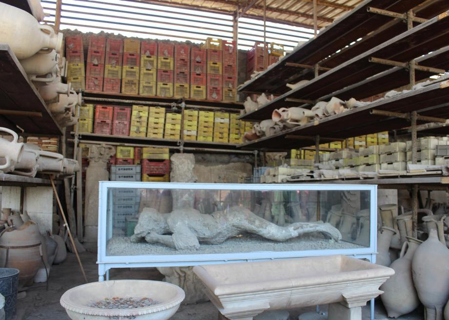 Plaster Casts Of Victims Bodies At Pompeii In Italy