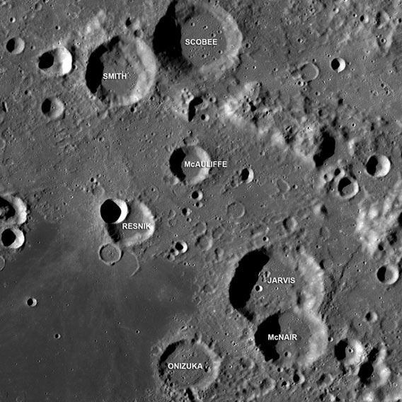 Creaters on the Moon named for Challenger astronauts