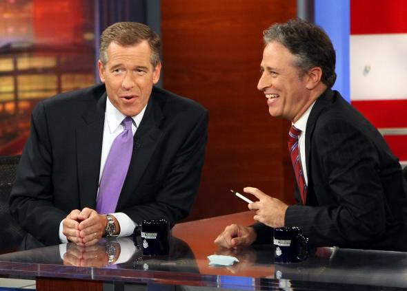 Brian Williams and Jon Stewart during a taping of The Daily Show in 2008.
