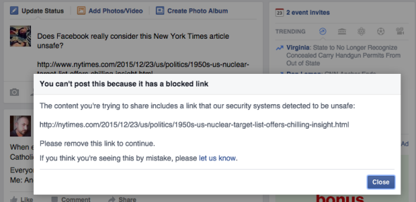 Do You Know Facebook Blocked Sharing Of The New York Times Article About America's Nuclear Targets?