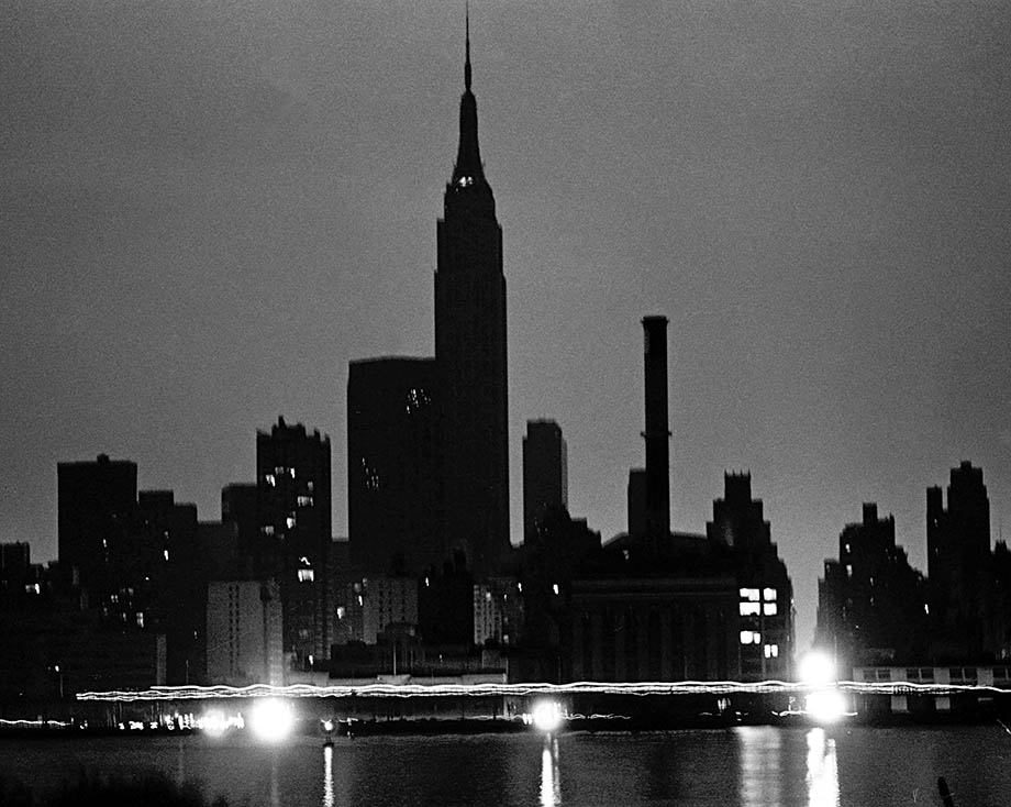 The NYC skyline from Queens during the power blackout.