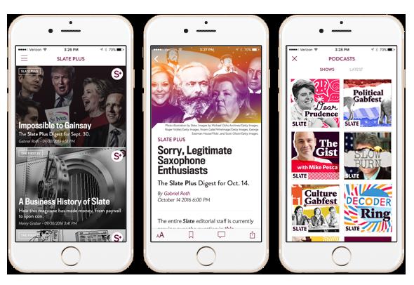 Screenshots of Slate Plus on three iPhones.